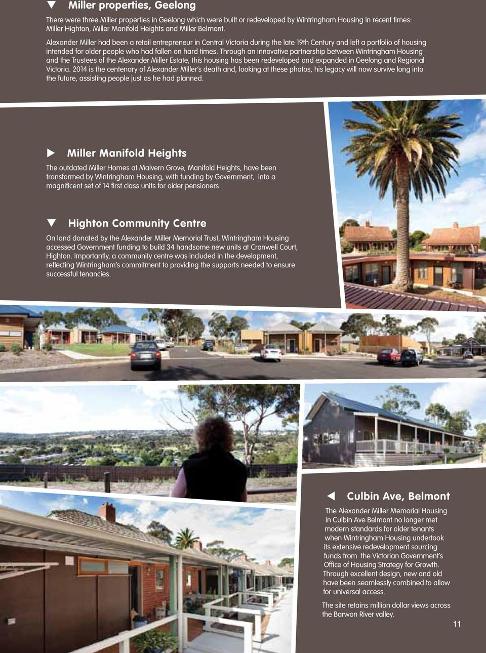 Through an innovative partnership between Wintringham Housing and the Trustees of the Alexander Miller Estate, this housing has been redeveloped and expanded in Geelong and Regional Victoria.