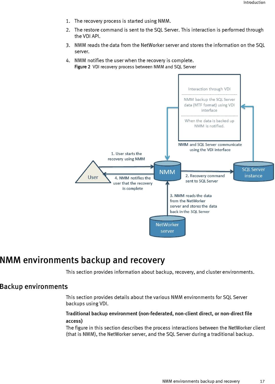 Figure 2 VDI recovery process between NMM and SQL Server NMM environments backup and recovery Backup environments This section provides information about backup, recovery, and cluster environments.