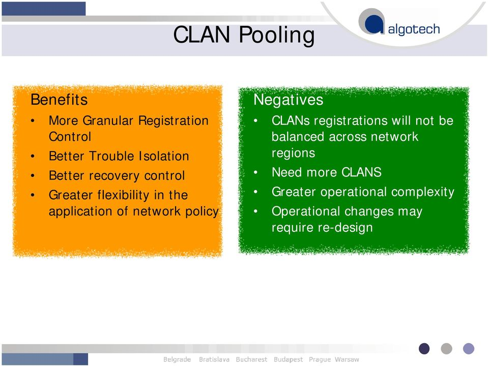 Negatives CLANs registrations will not be balanced across network regions Need