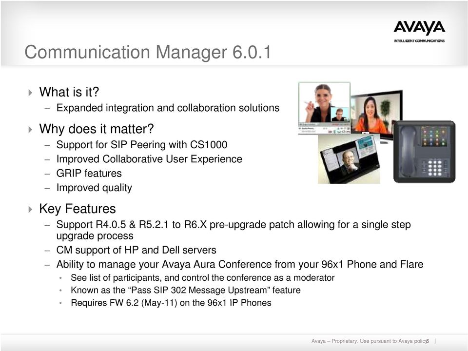 X pre-upgrade patch allowing for a single step upgrade process CM support of HP and Dell servers Ability to manage your Avaya Aura Conference from your 96x1