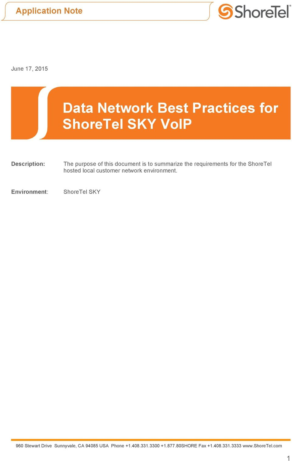 summarize the requirements for the ShoreTel hosted local