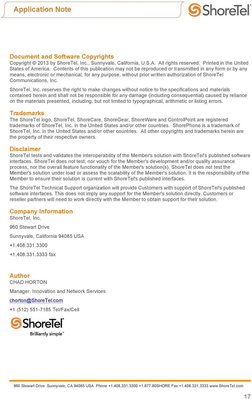 Communications, Inc. ShoreTel, Inc.