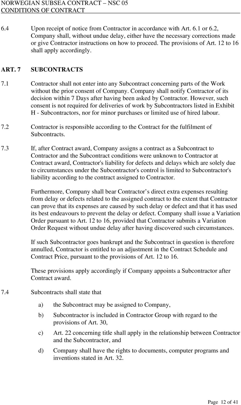 NORWEGIAN SUBSEA CONTRACT NSC 05 CONDITIONS OF CONTRACT - PDF