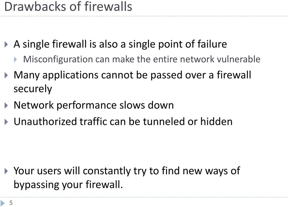 passed over a firewall securely Network performance slows down Unauthorized traffic