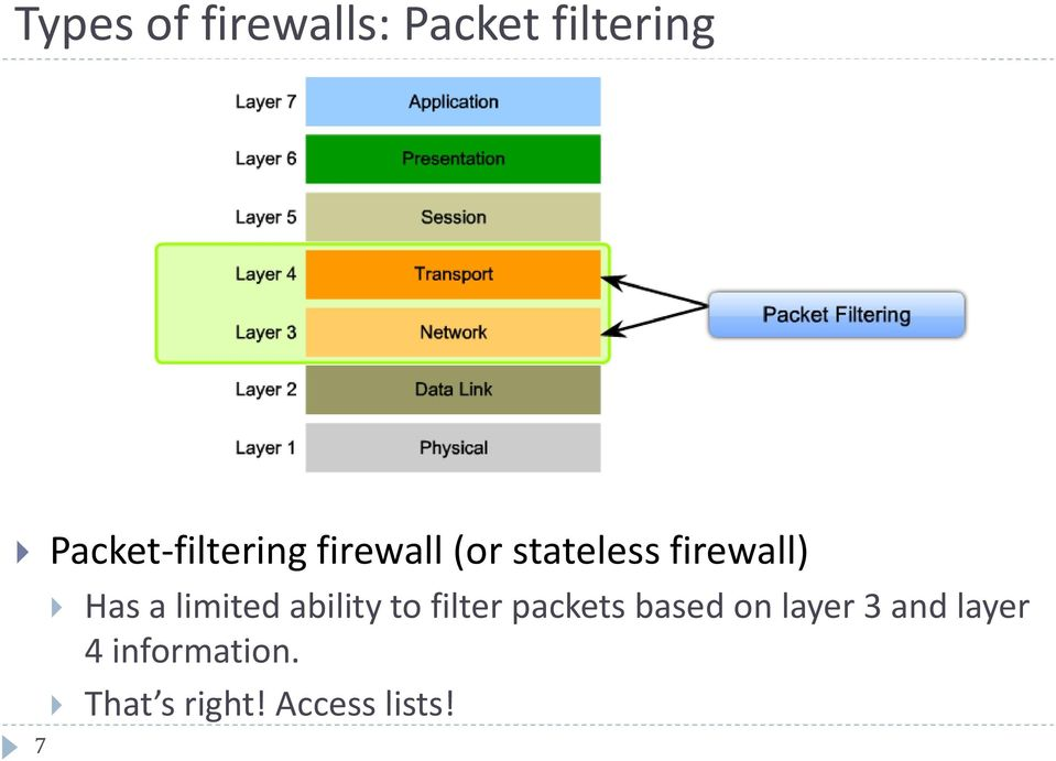 7 Has a limited ability to filter packets based