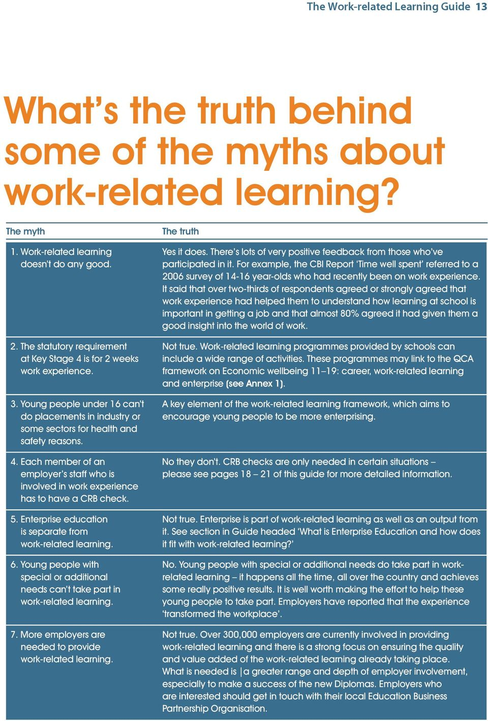 5. Enterprise education is separate from work-related learning. 6. Young people with special or additional needs can t take part in work-related learning. 7.