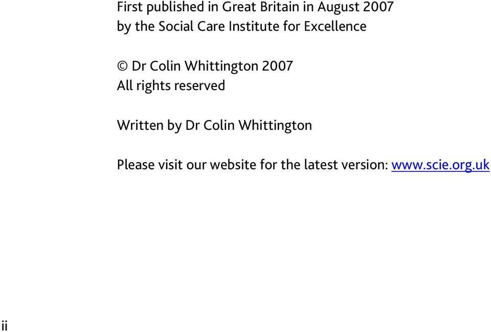 2007 All rights reserved Written by Dr Colin Whittington