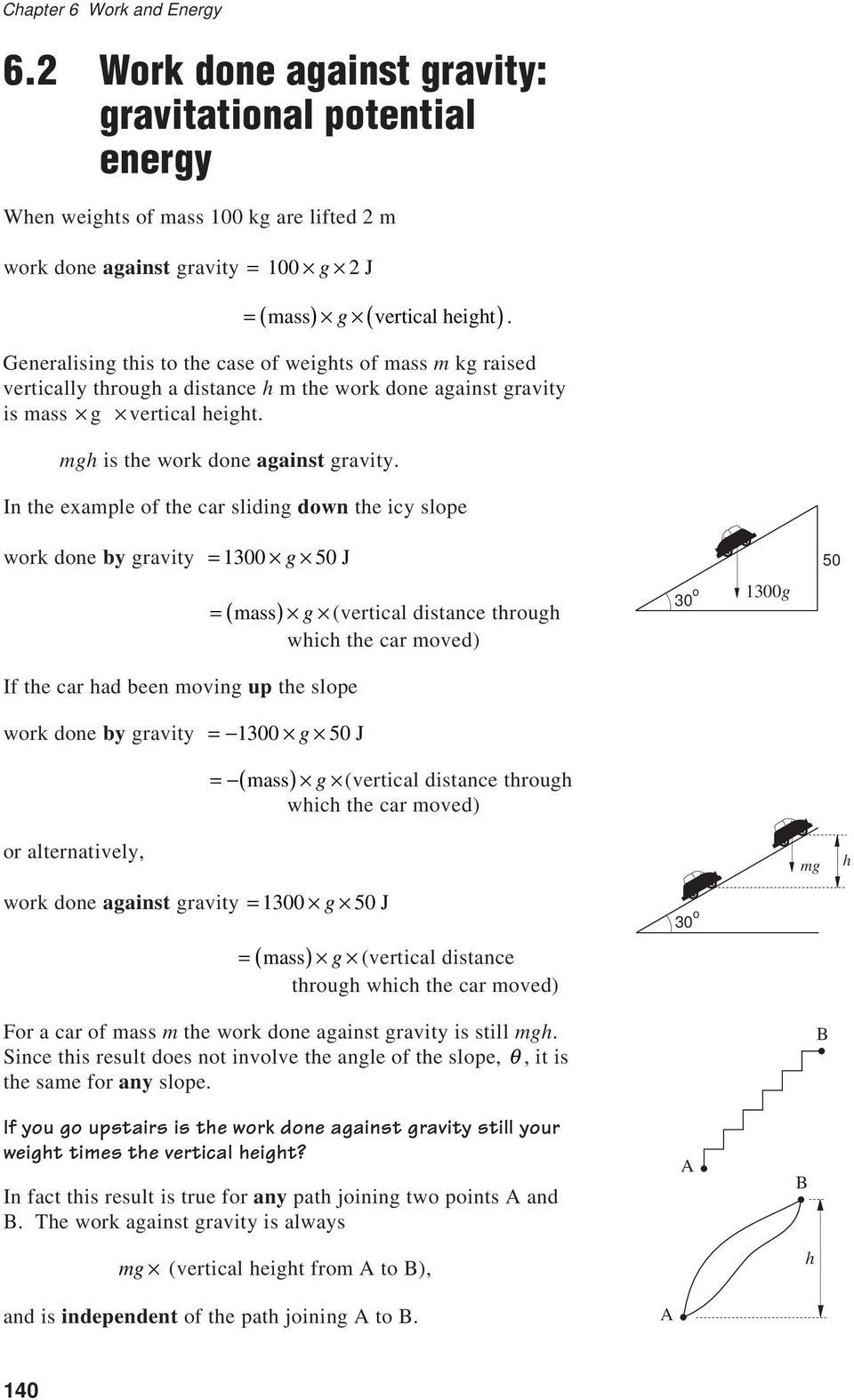 In the example of the car sliding down the icy slope work done by gravity = 1300 g 50 J If the car had been moving up the slope work done by gravity = 1300 g 50 J = ( mass) g (vertical distance