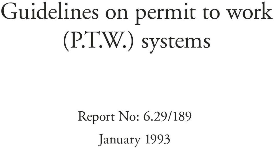 W.) systems Report