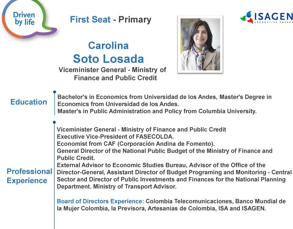 Economist from CAF (Corporación Andina de Fomento). General Director of the National Public Budget of the Ministry of Finance and Public Credit.