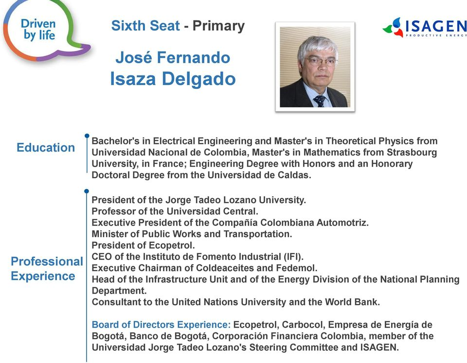 Professor of the Universidad Central. Executive President of the Compañía Colombiana Automotriz. Minister of Public Works and Transportation. President of Ecopetrol.