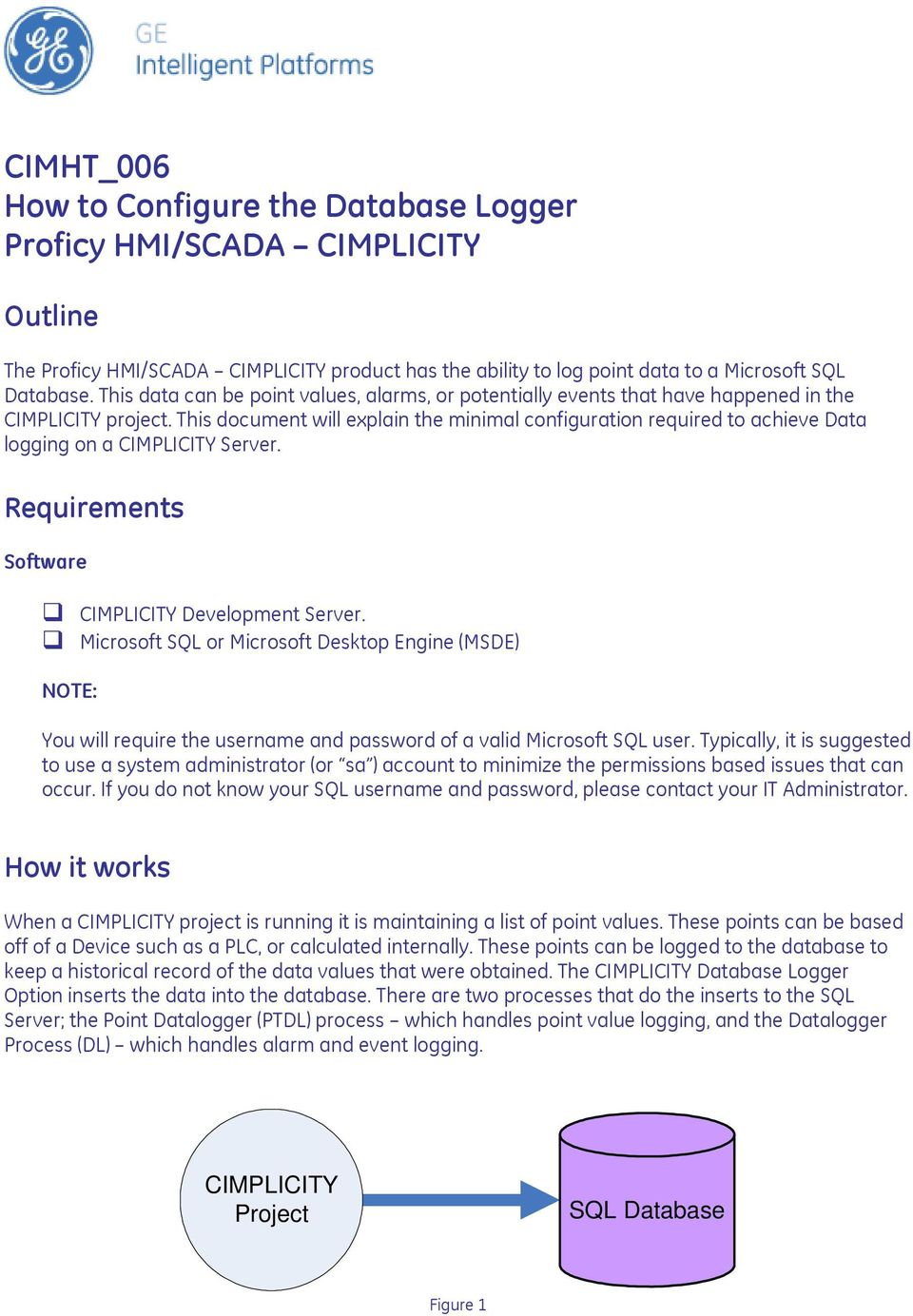 This document will explain the minimal configuration required to achieve Data logging on a CIMPLICITY Server. Requirements Software CIMPLICITY Development Server.