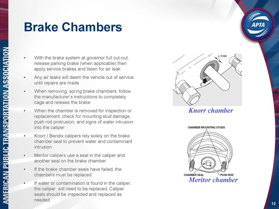 replacement, check for mounting stud damage, push rod protrusion, and signs of water intrusion into the caliper Knorr / Bendix calipers rely solely on the brake chamber seal to prevent water and