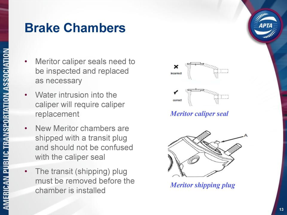 chambers are shipped with a transit plug and should not be confused with the caliper seal The