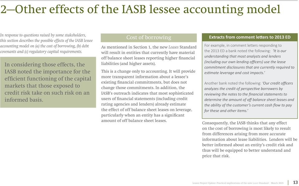 In considering those effects, the IASB noted the importance for the efficient functioning of the capital markets that those exposed to credit risk take on such risk on an informed basis.