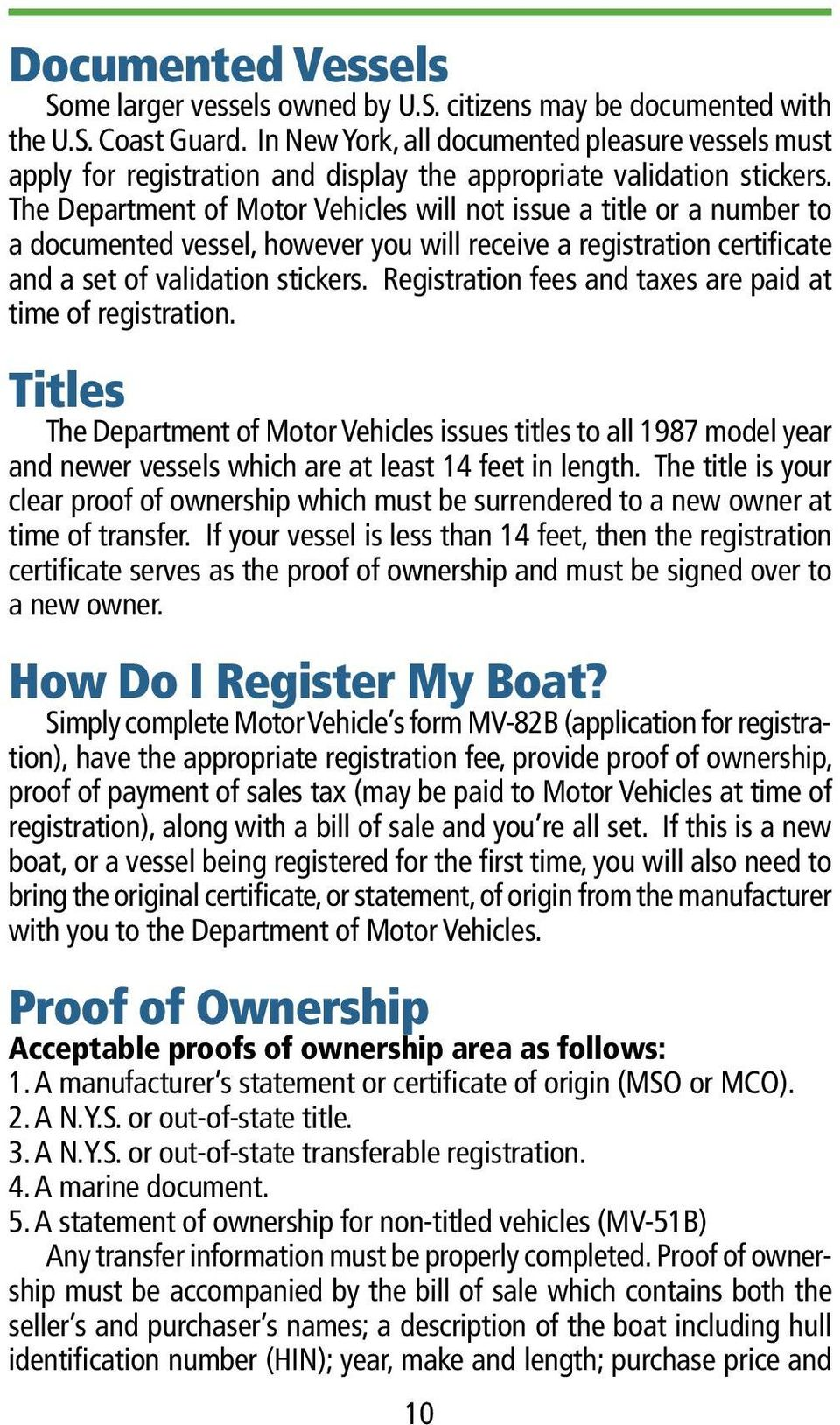 Boater S Guide New York State A Handbook Of Registration
