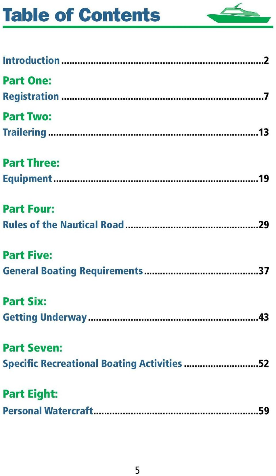 ..29 Part Five: General Boating Requirements...37 Part Six: Getting Underway.