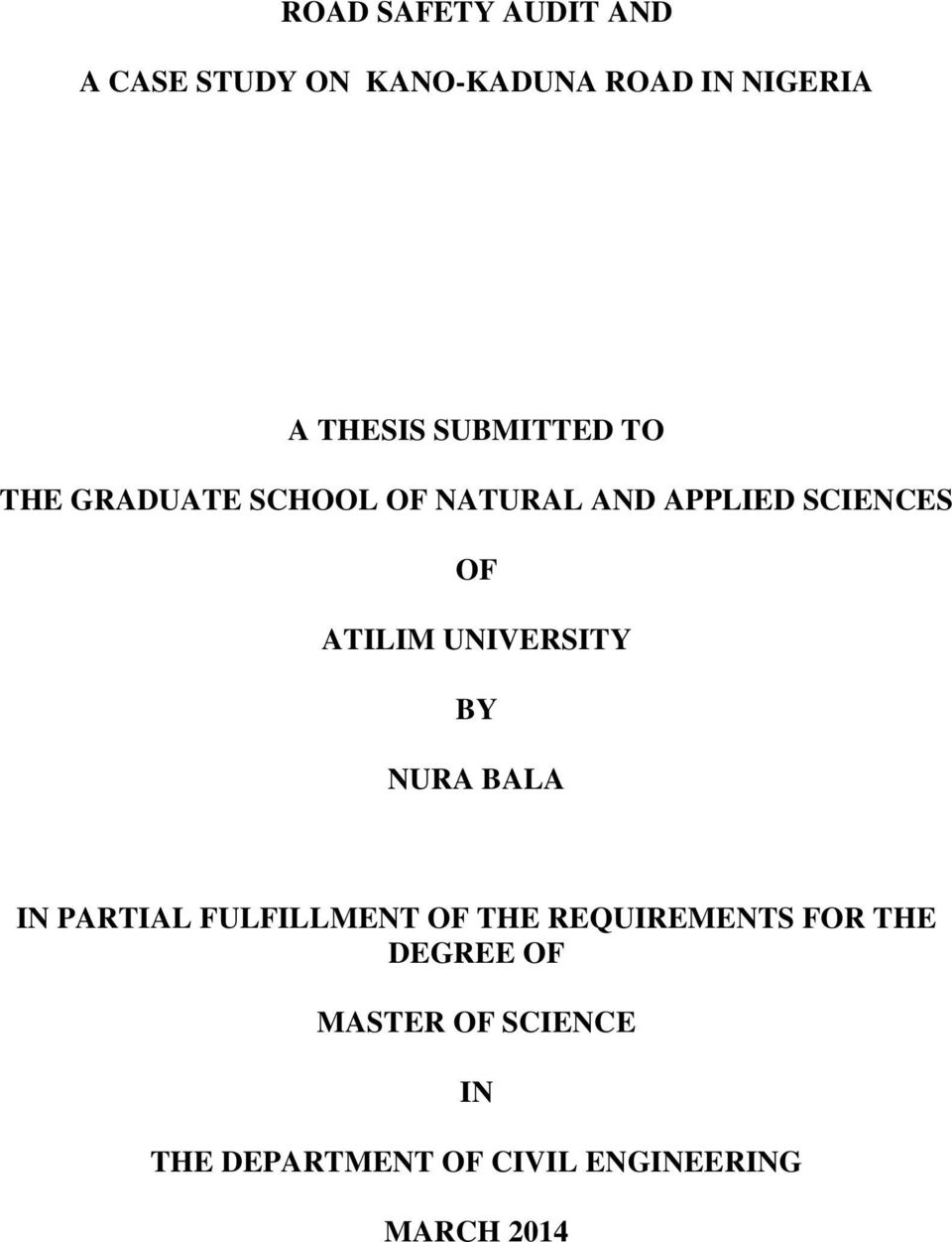 a thesis submitted for the degree of master