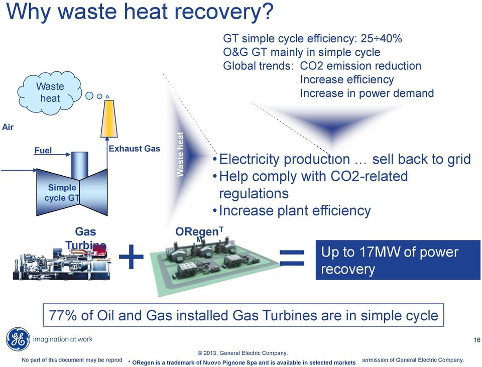 cycle GT Gas Turbine Exhaust Gas ORegen T M Electricity production sell back to grid Help comply with CO2-related regulations Increase plant efficiency + = Up to 17MW of power