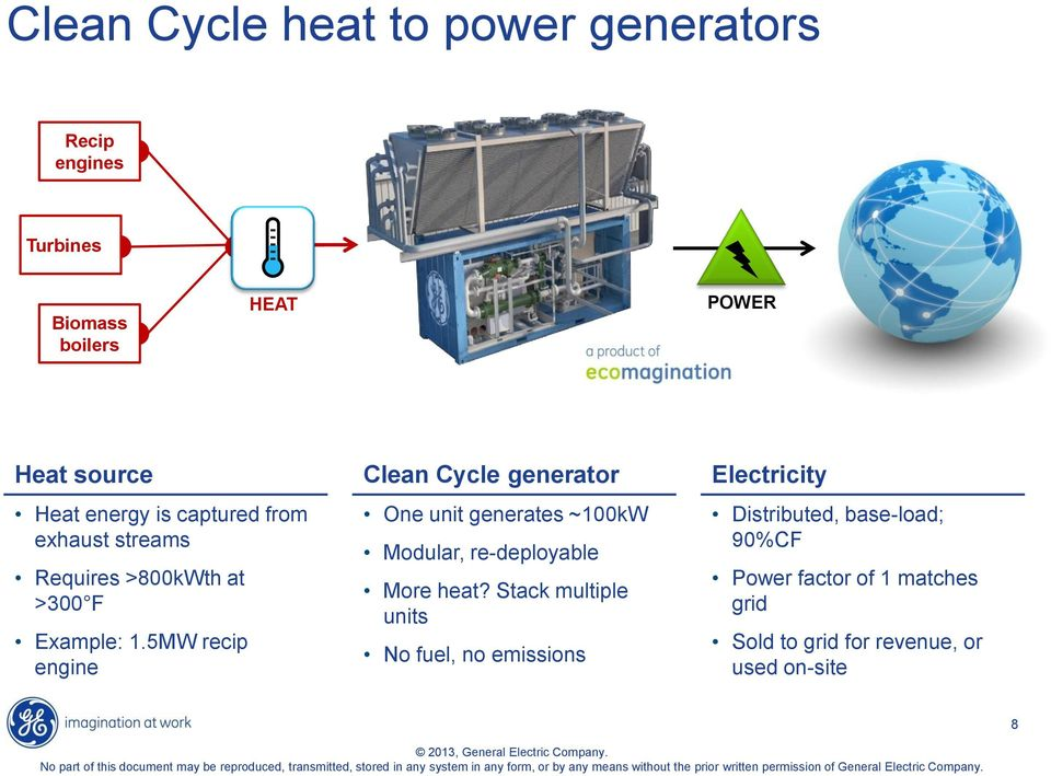 5MW recip engine Clean Cycle generator One unit generates ~100kW Modular, re-deployable More heat?