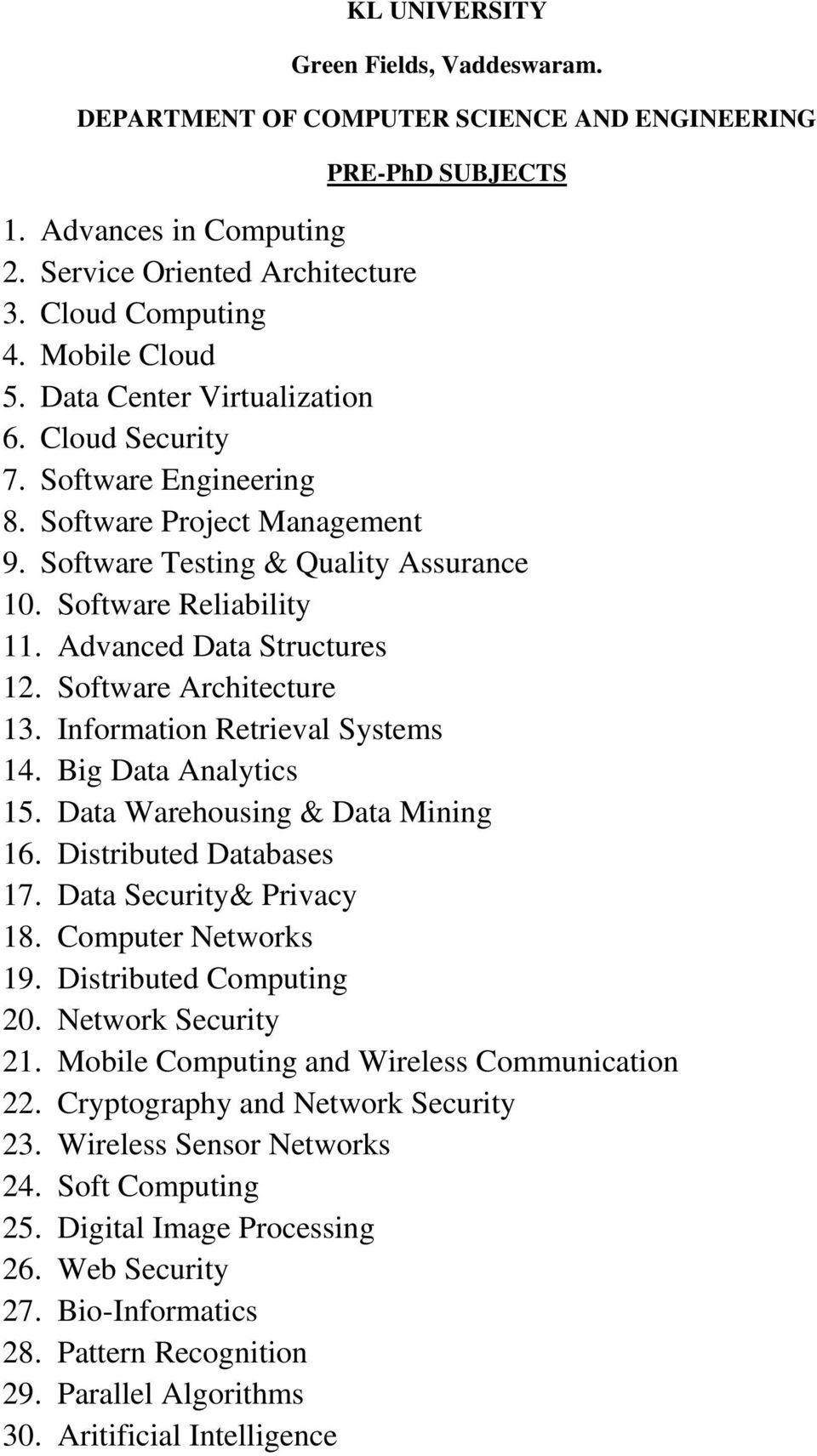 Software Architecture 13. Information Retrieval Systems 14. Big Data Analytics 15. Data Warehousing & Data Mining 16. Distributed Databases 17. Data Security& Privacy 18. Computer Networks 19.