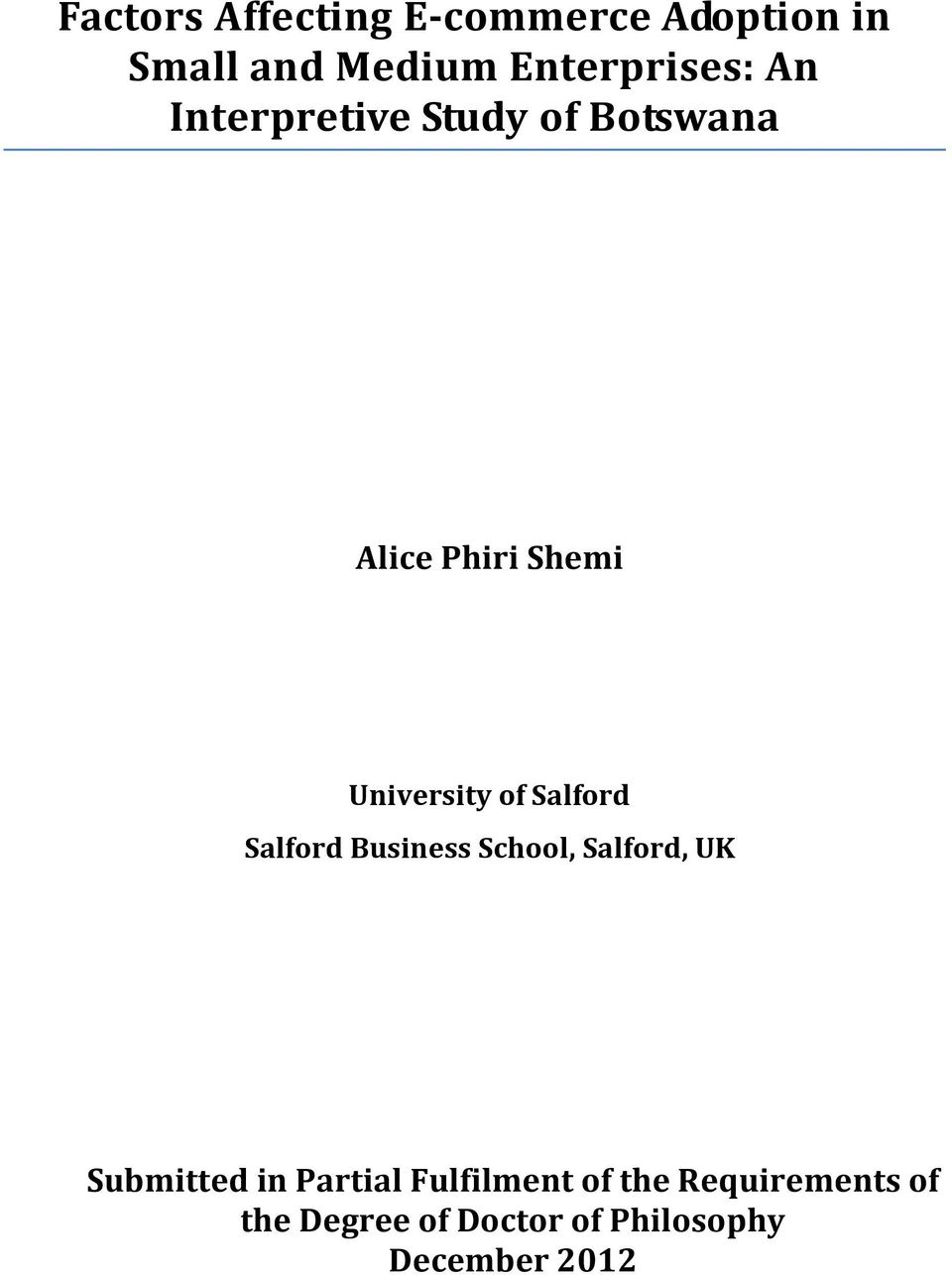 Salford Salford Business School, Salford, UK Submitted in Partial