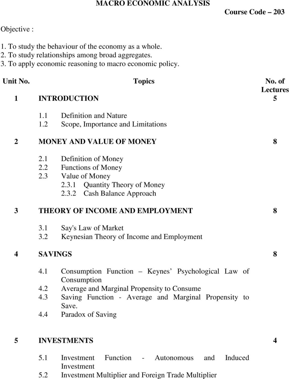 1 Definition of Money 2.2 Functions of Money 2.3 Value of Money 2.3.1 Quantity Theory of Money 2.3.2 Cash Balance Approach 3 THEORY OF INCOME AND EMPLOYMENT 8 3.1 Say's Law of Market 3.