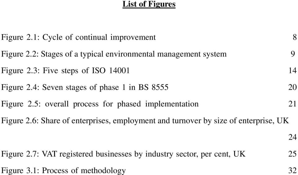 4: Seven stages of phase 1 in BS 8555 20 Figure 2.5: overall process for phased implementation 21 Figure 2.