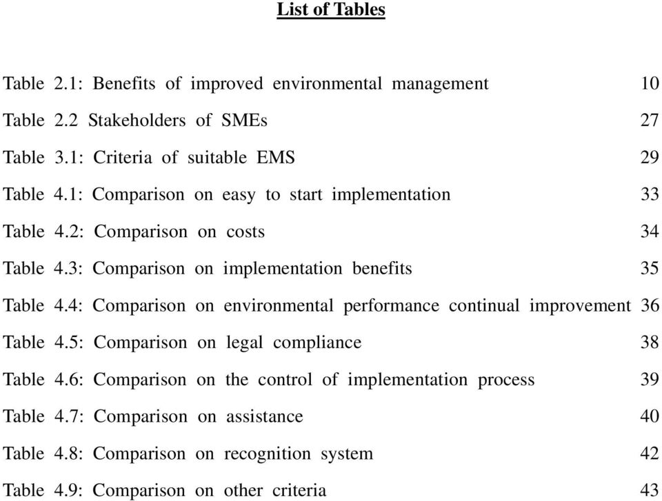 3: Comparison on implementation benefits 35 Table 4.4: Comparison on environmental performance continual improvement 36 Table 4.
