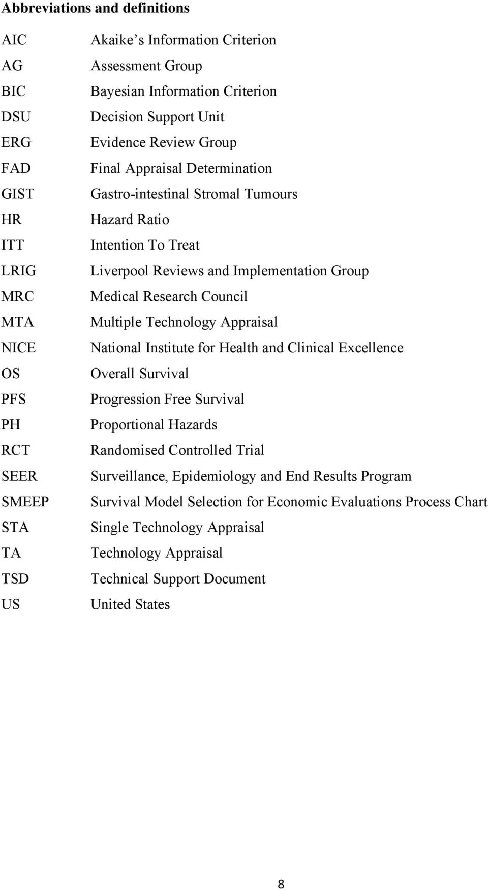Medical Research Council Multiple Technology Appraisal National Institute for Health and Clinical Excellence Overall Survival Progression Free Survival Proportional Hazards Randomised Controlled
