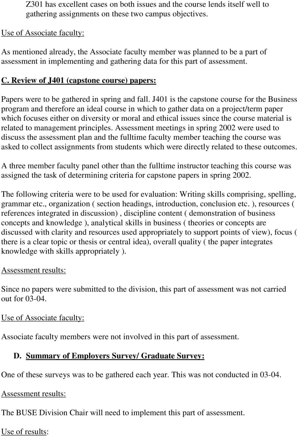 Review of J401 (capstone course) papers: Papers were to be gathered in spring and fall.