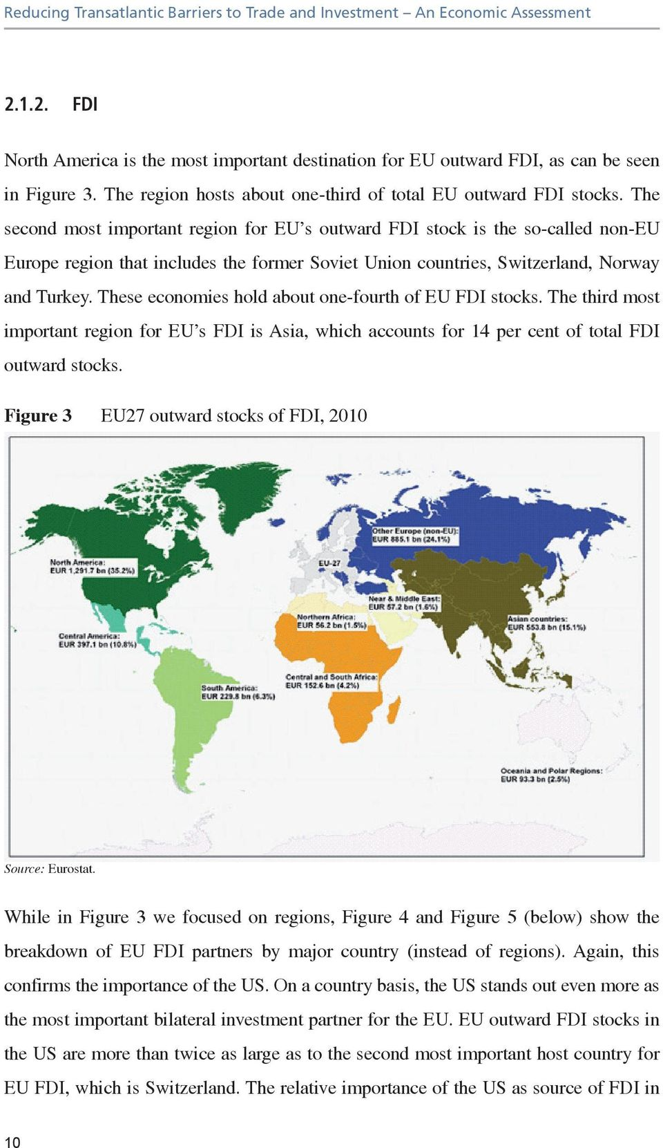 The second most important region for EU s outward FDI stock is the so-called non-eu Europe region that includes the former Soviet Union countries, Switzerland, Norway and Turkey.