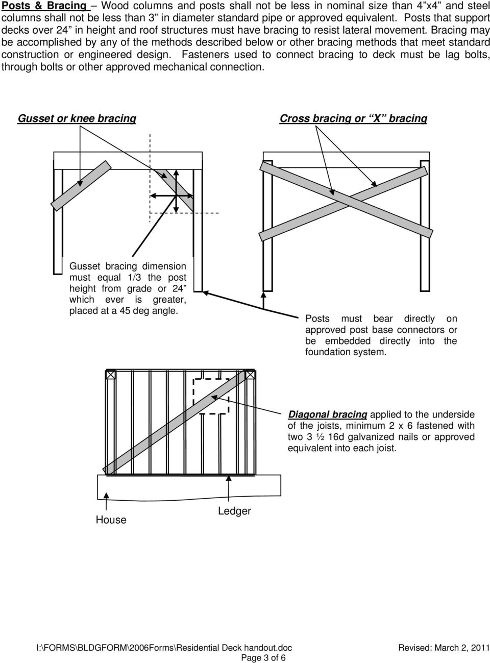 Bracing may be accomplished by any of the methods described below or other bracing methods that meet standard construction or engineered design.
