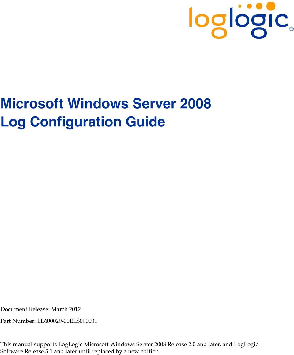 LogLogic Microsoft Windows Server 2008 Release 2.