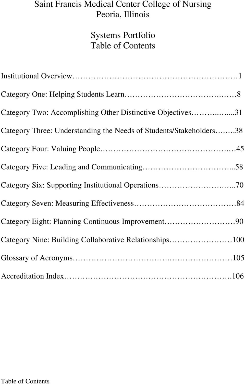 .38 Category Four: Valuing People. 45 Category Five: Leading and Communicating...58 Category Six: Supporting Institutional Operations.