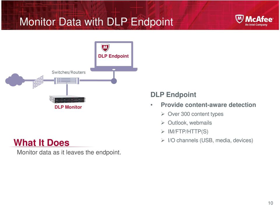 DLP Endpoint Provide content-aware detection Over 300 content