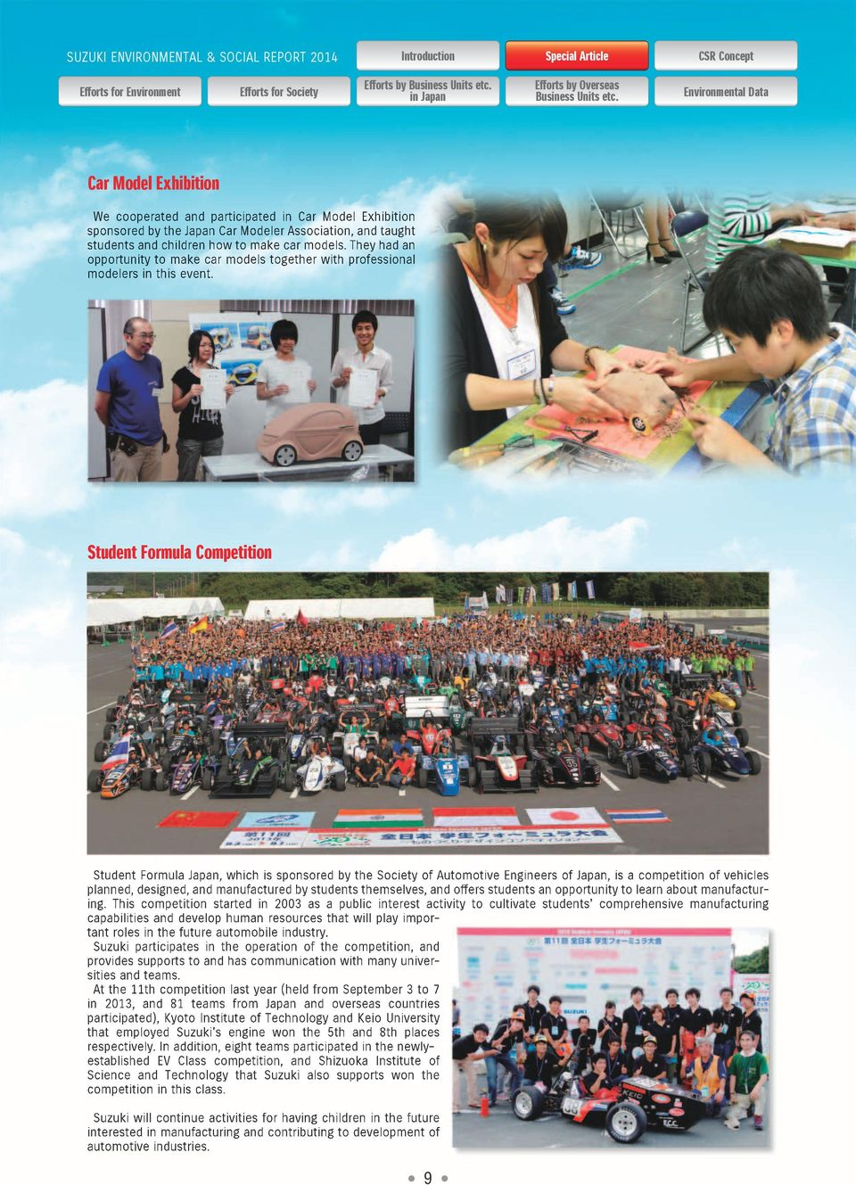 Student Formula om etition Student Formula Japan, which is sponsored by the Society of Automotive Engineers of Japan, is a competition of vehicles planned, designed, and manufactured by students