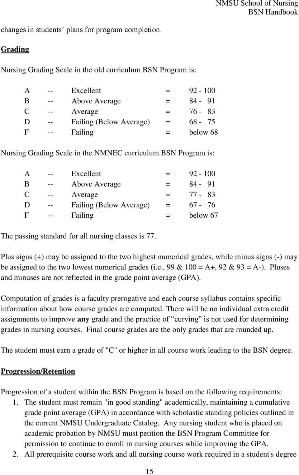 68 Nursing Grading Scale in the NMNEC curriculum BSN Program is: A -- Excellent = 92-100 B -- Above Average = 84-91 C -- Average = 77-83 D -- Failing (Below Average) = 67-76 F -- Failing = below 67
