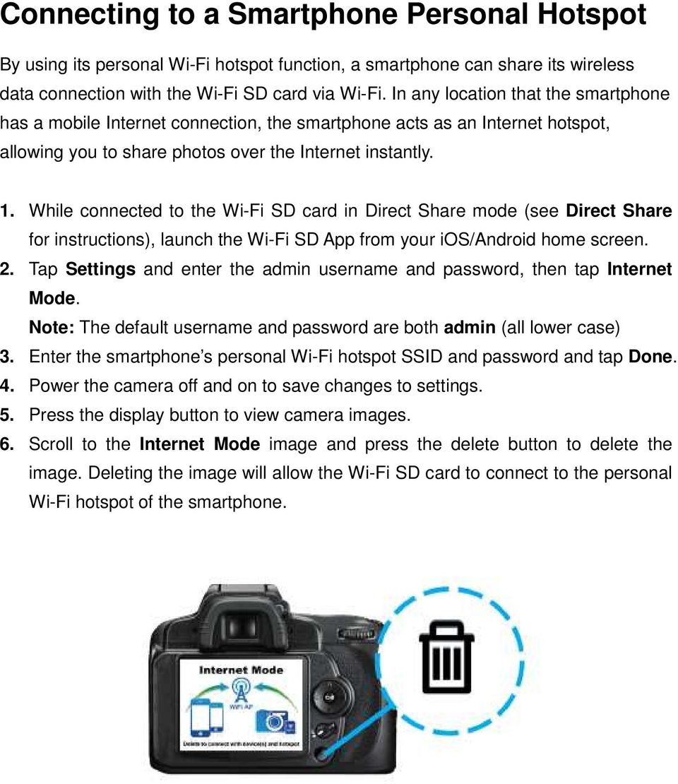 While connected to the Wi-Fi SD card in Direct Share mode (see Direct Share for instructions), launch the Wi-Fi SD App from your ios/android home screen. 2.