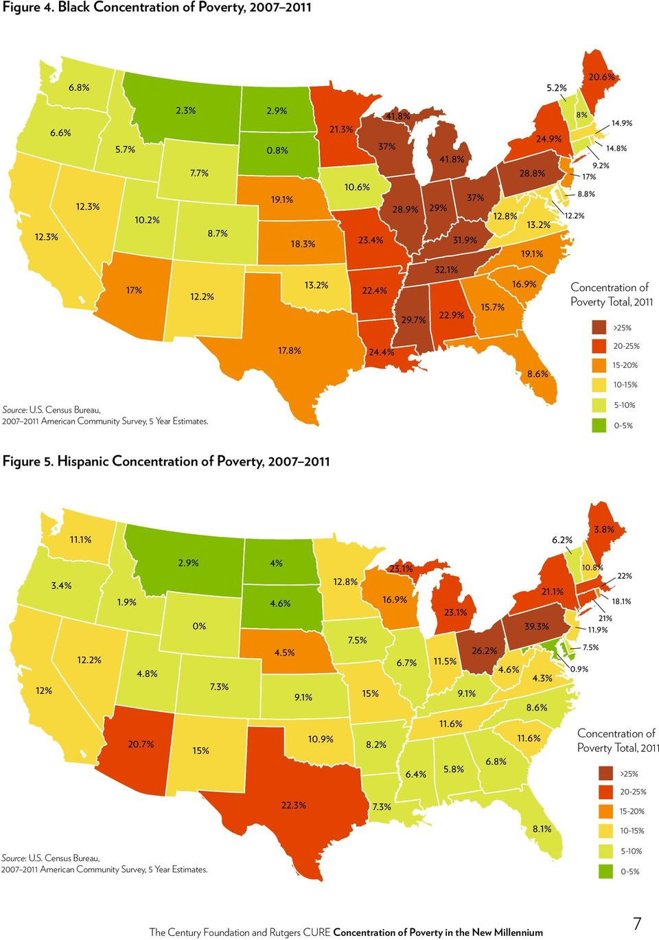 urce: U.S. Census Bureau, 2007 2011 American Community Survey, 5 Year Estimates. 5-10% 0-5% Figure 5. Hispanic Concentration of Poverty, 2007 2011 11.1% 6.2% 3.8% 12% 3.4% 12.2% 1.9% 4.8% 20.7% 2.