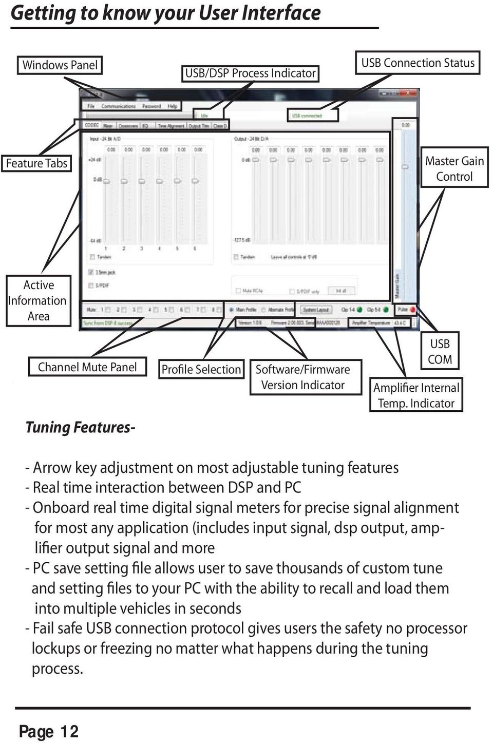 Indicator - Arrow key adjustment on most adjustable tuning features - Real time interaction between DSP and PC - Onboard real time digital signal meters for precise signal alignment for most any