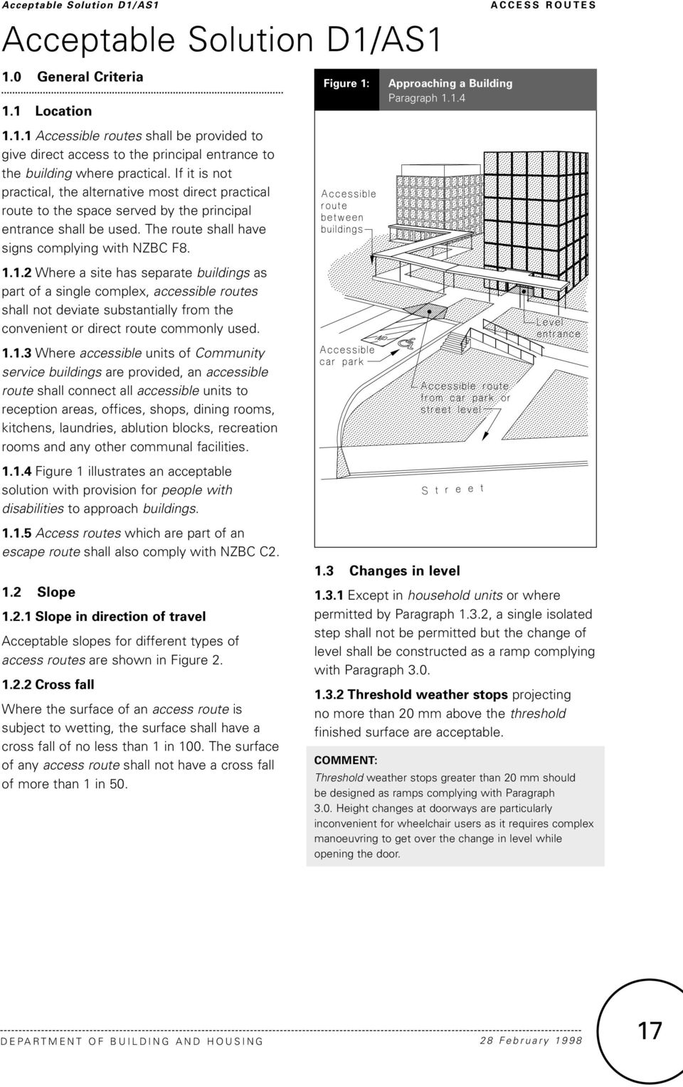 1.2 Where a site has separate buildings as part of a single complex, accessible routes shall not deviate substantially from the convenient or direct route commonly used. 1.1.3 Where accessible units