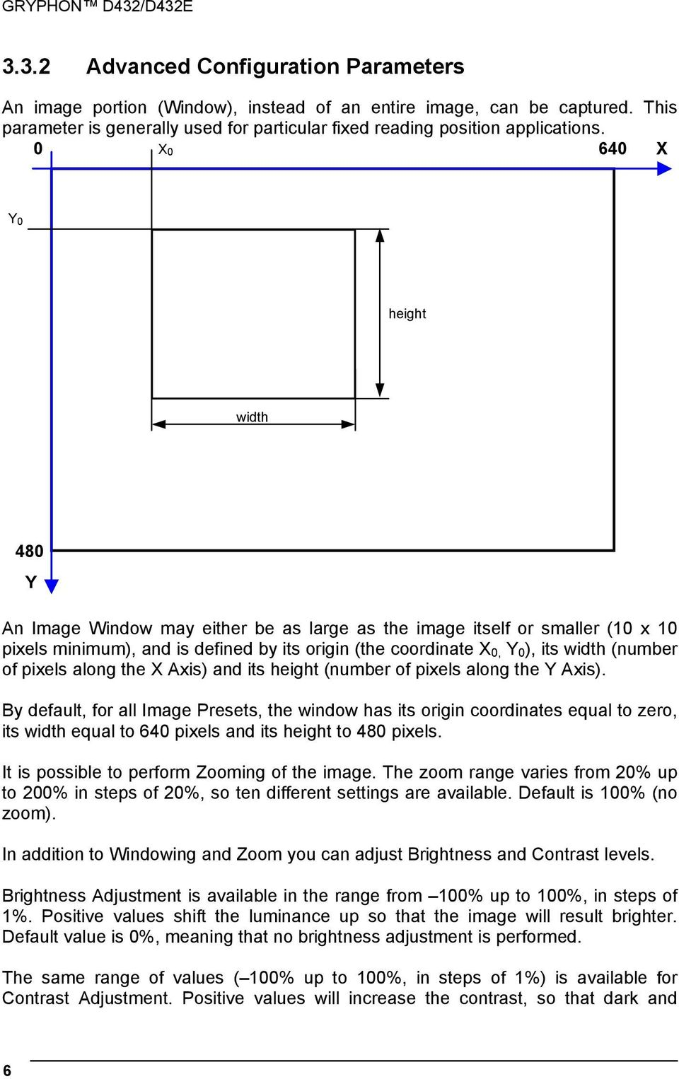 0 X 0 640 X Y 0 height width 480 Y An Image Window may either be as large as the image itself or smaller (10 x 10 pixels minimum), and is defined by its origin (the coordinate X 0, Y 0 ), its width