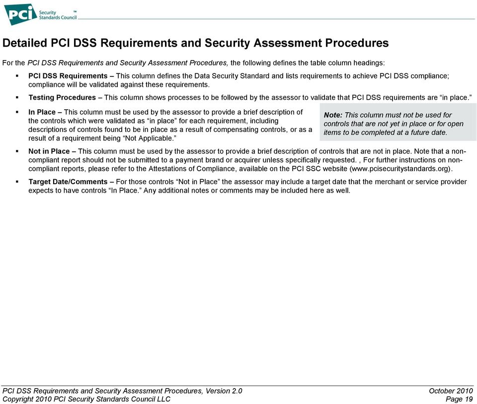 Testing Procedures This column shows processes to be followed by the assessor to validate that PCI DSS requirements are in place.