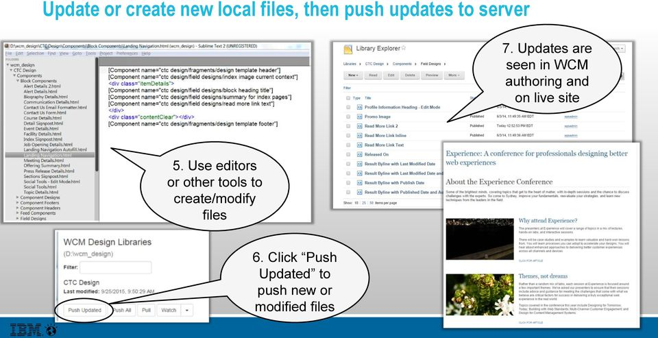 Updates are seen in WCM authoring and on live site 5.