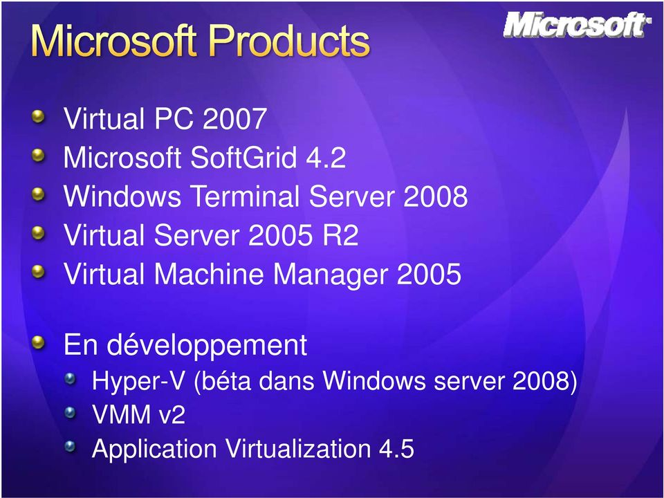 Virtual Machine Manager 2005 En développement Hyper-V