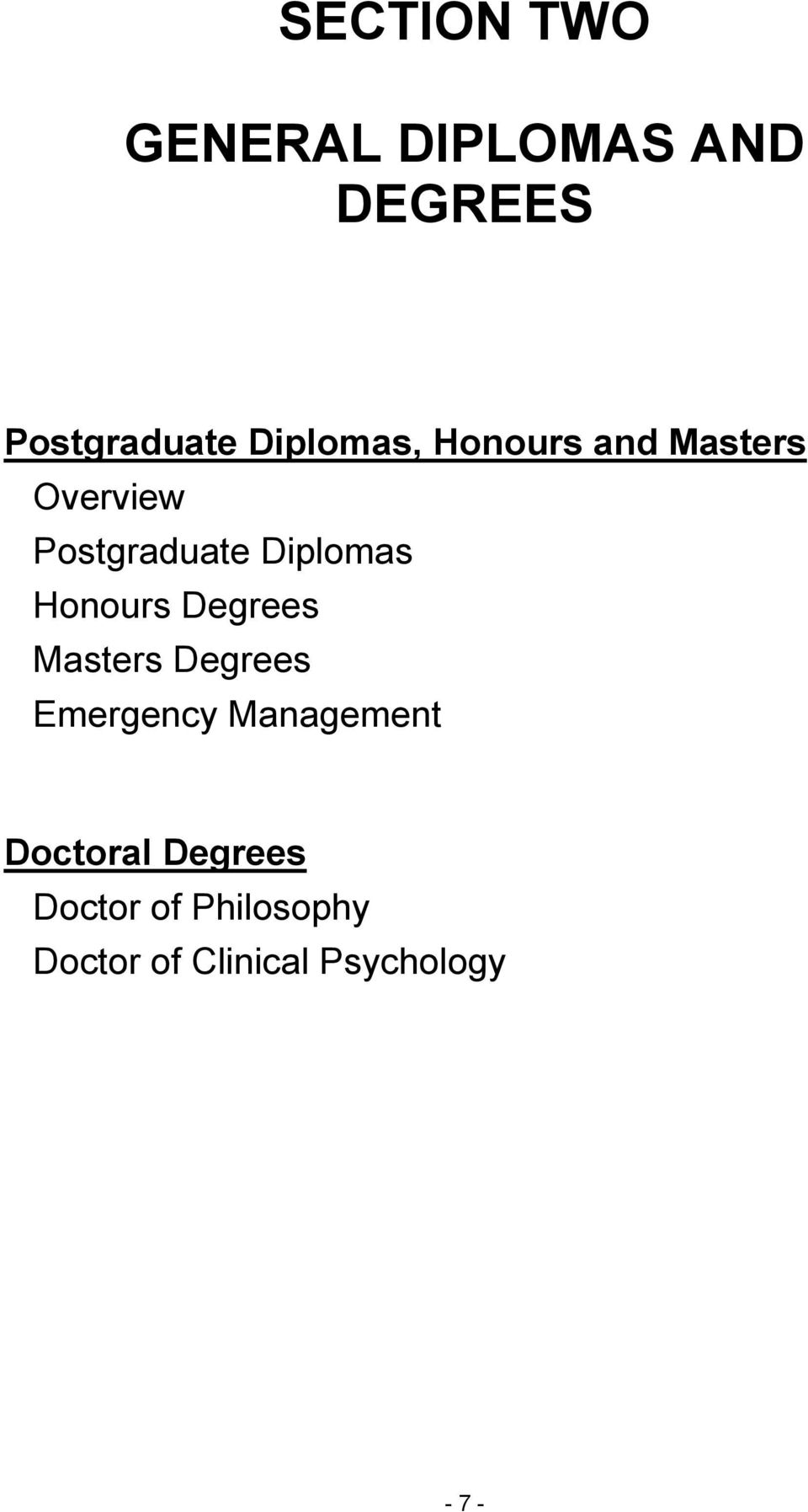 Honours Degrees Masters Degrees Emergency Management