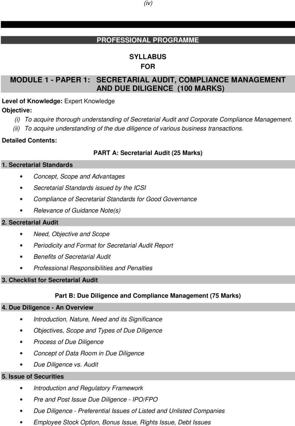 Secretarial Standards Concept, Scope and Advantages Secretarial Standards issued by the ICSI PART A: Secretarial Audit (25 Marks) Compliance of Secretarial Standards for Good Governance Relevance of