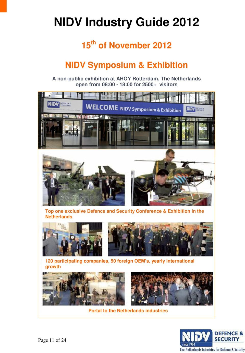 Defence and Security Conference & Exhibition in the Netherlands 120 participating