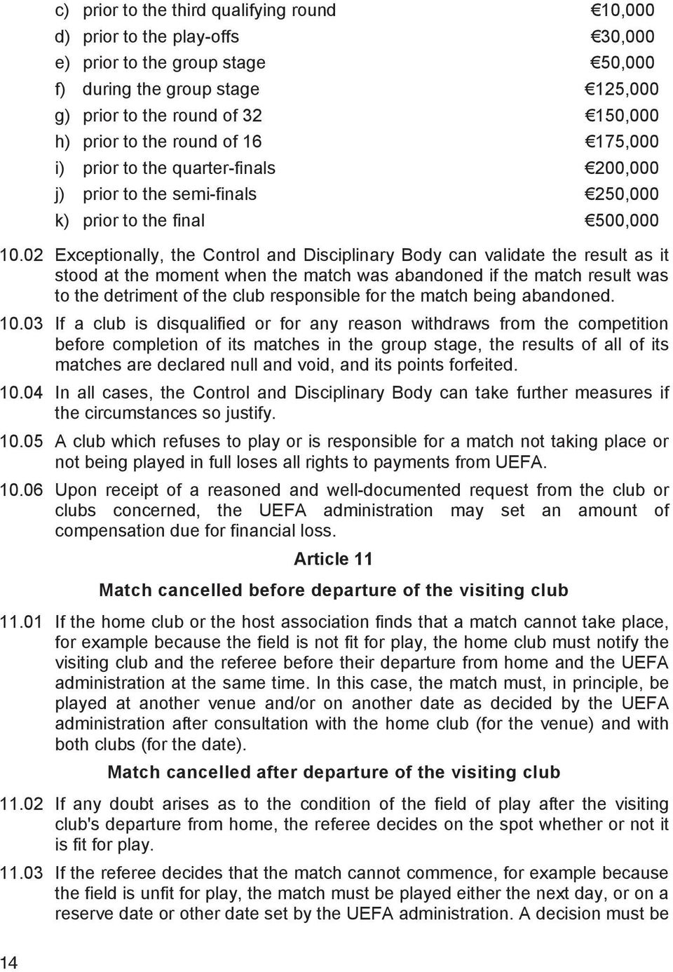 02 Exceptionally, the Control and Disciplinary Body can validate the result as it stood at the moment when the match was abandoned if the match result was to the detriment of the club responsible for